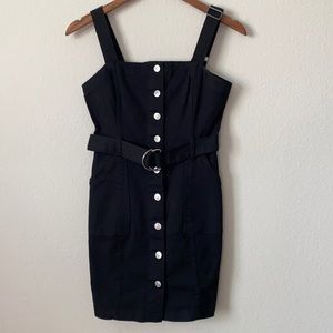 Divided Overall Black Dress Button Front with Belt Size 4